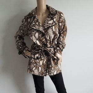 NINE WEST SNAKESKIN BROWN AND BLACK TRENCH 16W